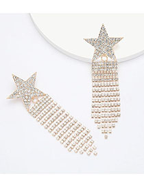 Fashion Golden Alloy Rhinestone And Diamond Pentagram Tassel Earrings