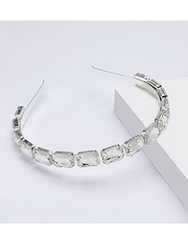 Fashion White Square Glass Diamond Headband