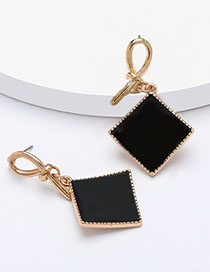 Fashion Black Geometric Square Earrings With Gold Drip Oil Geometric Earrings