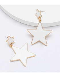 Fashion White Multi-layered Pentagram Alloy Oil Drop Earrings