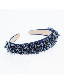 Fashion Blue Crystal Beaded Flower Headband