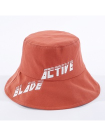Fashion Brick Red Letter Embroidered Cotton Fisherman Hat