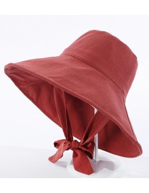 Fashion Brick Red Fisherman Hat With Big Eaves Band And Bow