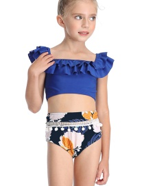 Fashion Blue Shoulder Flashing Ball Swim Trunks Print Split Swimwear For Children