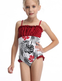 Fashion Red Printed Pleated Fungus Panel One Piece Swimsuit For Children