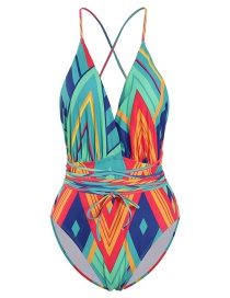 Fashion Color Geometric Print Printed Deep V Band One Piece Swimsuit