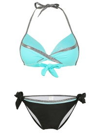 Fashion Green Hard Wrap Halter Small Pleated Strap Split Swimsuit