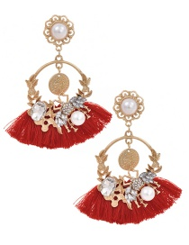 Fashion Red Alloy Studded Pearl Stud Earrings With Diamonds