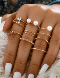 Fashion Golden 8-piece Open Diamond Ring With Pearls