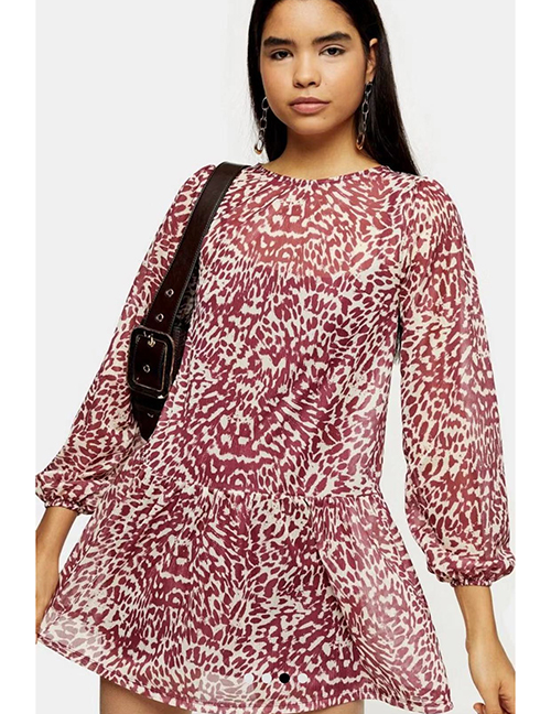 Fashion Red Leopard Print Printed Ruffled Dress