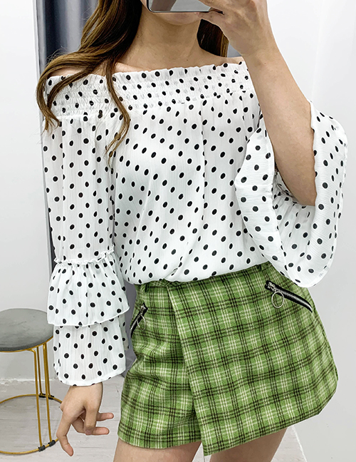 Fashion Wave Point Polka-dot Flared Sleeve Chiffon Top