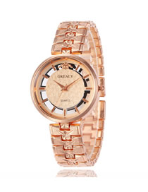 Fashion Rose Gold Steel Strap Double-sided Skeleton Watch