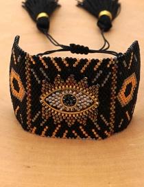 Fashion Black Beaded Eye Bracelet With Diamonds And Lips