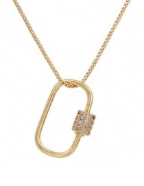 Fashion Golden Cubic Zirconia Geometric Necklace