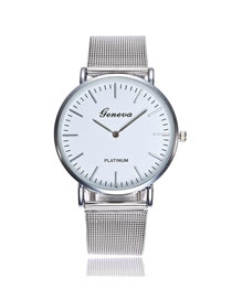 Fashion Mesh Belt Silver Stainless Steel Ultra-thin Two-hand Steel Band Quartz Watch