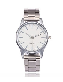 Fashion Silver Alloy Steel Band Large Dial Watch