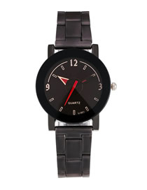 Fashion Women's Black Face Three-band Steel Watch