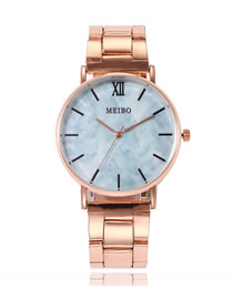 Fashion Sky Blue Marble Pavement Steel Band Ultra-thin Quartz Watch