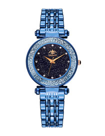 Fashion Navy Blue Plated Imitation Steel With Point Drill Ball Quartz Watch