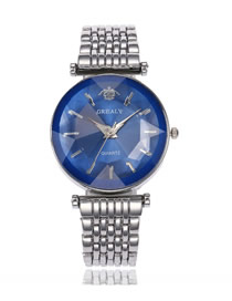 Fashion Silver With Blue Surface Steel Band Changeable Cut Mirror Quartz Watch