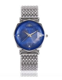 Fashion Silver With Blue Surface Changeable Cut Mirror Quartz Steel Band Watch