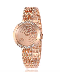 Fashion Rose Gold Diamond Band Watch