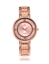 Fashion Rose Gold Quartz Watch With Diamonds