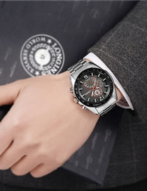 Fashion Black-faced Large Dial Stainless Steel Waterproof Men's Watch