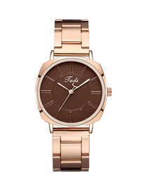 Fashion Brown Surface Graduated Quartz Steel Band Alloy Watch