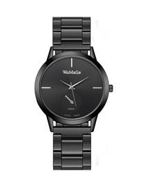 Fashion Gun Black Ultra-thin Quartz Alloy Steel Band Watch