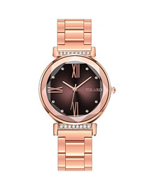 Fashion Brown Gradient Quartz Watch With Diamonds