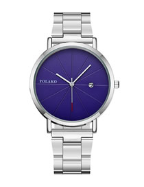 Fashion Silver With Blue Surface Steel Strap Ultra-thin Calendar Men's Watch