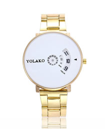 Fashion Gold With White Flour Large Dial Turntable Steel Band Quartz Pair Watch