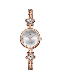 Fashion Golden Quartz Bracelet Pentagram Diamond Steel Watch