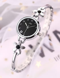 Fashion Silver + Black Flower Bracelet Diamond Bracelet Watch