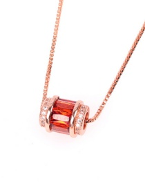 Fashion Red Rose Gold Clavicle Chain With Micro Inlaid Zircon Macropores