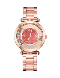 Fashion Pink Quartz Watch With Diamonds And Glitter