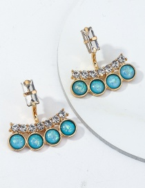Fashion Blue Blue Turquoise Crystal Hoop Earrings