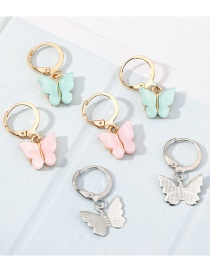 Fashion Color Butterfly Acrylic Alloy Earring Set