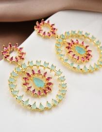 Fashion Blue Micro Inlaid Zircon Circle Flower Stud Earrings