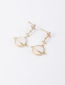 Fashion Golden Micro-set Saturn Shell Zircon Stud Earrings