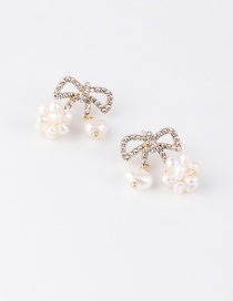 Fashion White Pearl Ball Bow Earrings With Diamonds