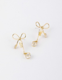 Fashion Golden Bow Studded Alloy Stud Earrings