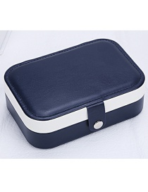 Fashion Navy Contrast Color Pu Leather Concealed Multifunctional Jewelry Box