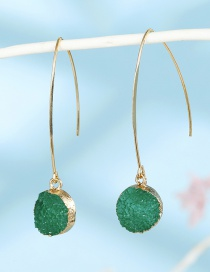 Fashion Green Imitation Natural Stone Round Bud Resin Earrings