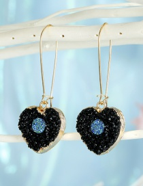 Fashion Black Love Small Resin Imitation Natural Stone Love Alloy Earrings