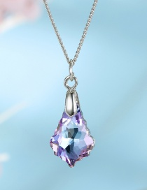 Fashion Powder Blue Zircon-like Irregular Drop Alloy Necklace