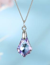 Fashion Powder Blue Zircon-like Irregular Drop Alloy Necklace