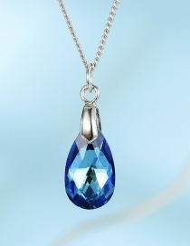 Fashion Water Drops Blue Imitation Zircon Alloy Drop-shaped Necklace
