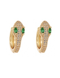 Fashion Golden Cubic Zirconia Snake Stud Earrings